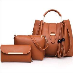 Handbags - Set of 3! Tote, Crossbody and wallet set Tan